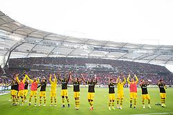20.10.2018, Fussball, 1. Bundesliga, VfB Stuttgart - Boussia Dortmund, v.l. Borussia Dortmund Spieler jubeln nach dem Spiel mit den Fans..(DFL/DFB REGULATIONS PROHIBIT ANY USE OF PHOTOGRAPHS as IMAGE SEQUENCES and/or QUASI-VIDEO) (Credit Image: © Kevin Voigt/Xinhua via ZUMA Wire)