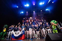 September 18, 2017 - Ljubljana, Slovenia, Slovenia - Goran Dragic and the team attend celebrations in Ljubljana after Slovenian basketball team historical win in European Championship in Istanbul on September 18, 2017 in Ljubljana, Slovenia. (Credit Image: © Damjan Zibert/NurPhoto via ZUMA Press)