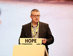 SNP Spring Conference, Sunday 28th April 2019<br /> <br /> Pictured: (l to r) Stuart McMillan MSP<br /> <br /> Alex Todd   Edinburgh Elite media