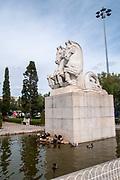 Horses, equestrian statue in the gardens of Mosteiro dos Jeronimos, Praca do Imperio, Belem, Lisbon, Portugal