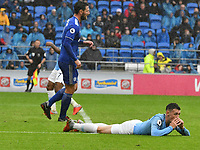Football - 2018 / 2019 Premier League - Cardiff City vs. Manchester City<br /> <br /> Phil Foden of Manchester City lies prone on the ground after missing a shot at goal , at Cardiff City Stadium.<br /> <br /> COLORSPORT/WINSTON BYNORTH