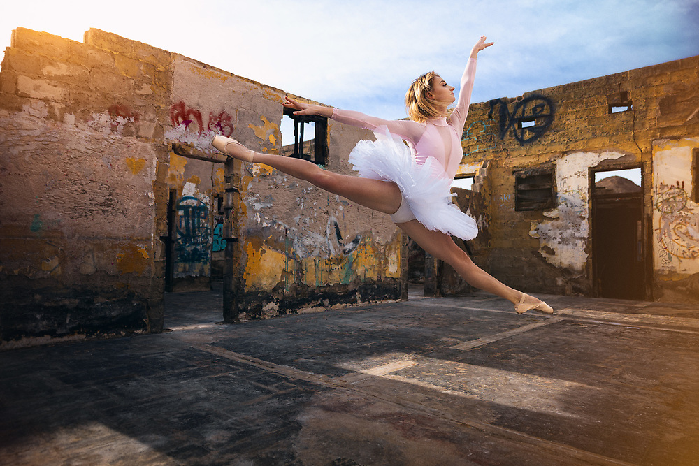 DSTLND<br /> Dustland Fairytale with Erin Blair shot in an abandoned building in Southern California. Ballerina Fashion Portrait Photography. ©justinalexanderbartels.com