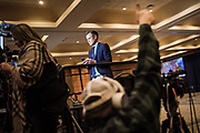 BIRMINGHAM, AL – DECEMBER 12, 2017: Reporters standby at the Doug Jones election party as results are tallied following the Alabama special Senate election. CREDIT: Bob Miller for The New York Times