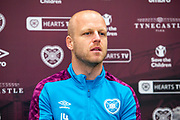Steven Naismith (#14) of Heart of Midlothian FC speaks to the media during the Heart of Midlothian press conference and training session at Oriam Sports Performance Centre, Edinburgh, Scotland on 23 November 2020.