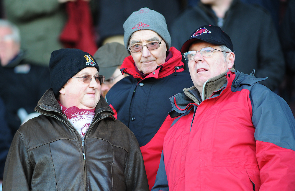 Northampton Town fans before kick-off<br /> <br /> Photographer Kevin Barnes/CameraSport<br /> <br /> Football - The Football League Sky Bet League Two - Northampton Town v Newport County AFC - Saturday 24rd January 2015 - Sixfields Stadium - Northampton<br /> <br /> © CameraSport - 43 Linden Ave. Countesthorpe. Leicester. England. LE8 5PG - Tel: +44 (0) 116 277 4147 - admin@camerasport.com - www.camerasport.com