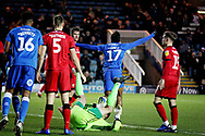 Peterborough United forward Ivan Toney (17) celebrates his equalising goal 1-1 during the EFL Sky Bet League 1 match between Peterborough United and Walsall at London Road, Peterborough, England on 22 December 2018.