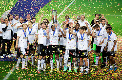 LJUBLJANA, SLOVENIA - JUNE 06: Lukas Nmecha of Germany and his team mates celebrate with the UEFA European Under-21 Championship trophy following victory in the 2021 UEFA European Under-21 Championship Final match between Germany and Portugal at Stadion Stozice on June 06, 2021 in Ljubljana, Slovenia.  Photo by Grega Valancic / Sportida