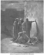 Jehu's Companions Finding the Remains of Jezebel 2 Kings 9:34-35 From the book 'Bible Gallery' Illustrated by Gustave Dore with Memoir of Dore and Descriptive Letter-press by Talbot W. Chambers D.D. Published by Cassell & Company Limited in London and simultaneously by Mame in Tours, France in 1866