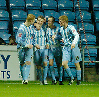 Photo: Leigh Quinnell.<br /> Coventry City v Plymouth Argyle. Coca Cola Championship.<br /> 03/12/2005. Coventrys Gary McSheffrey(second left) celebrates his goal with his teammates.