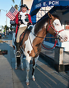 Woman On Horseback In Corona Del Mar For An Obama Visit