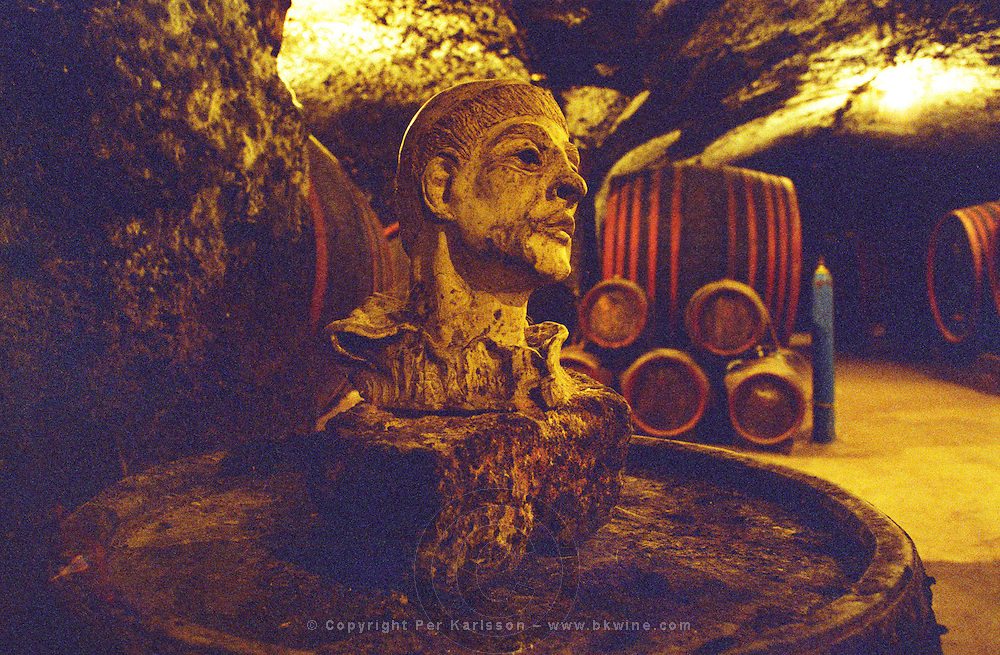The Thummerer winery in Eger: in the cellar (carved in the rock) there are sculptured heads, giving the cellar a mystical mood, and of course wooden barrels with aging wine. Thummerer is one of the leading growers and wine makers in Eger. Credit Per Karlsson BKWine.com