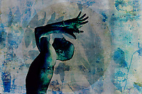 Man practicing yoga his arms in eagle pose. A circle surround him with plant overlays. He is both grounded and in flight with the cosmos. Through this connection with earth and sky he is experiencing altered states of consciousness,
