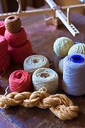 Local wool - lambswool - yarn from Scottish Highlands sheep at Croft Wools and Weavers, Applecross in the Highlands of Scotland