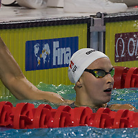 Maria Ugolkova of Switzerland reacts to winning in the Women's 200m Individual Medley final of the FINA Swimming World Cup held in Budapest, Hungary on Oct. 9, 2021. ATTILA VOLGYI