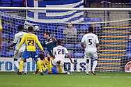 Exeter City's Jordan Morre-Taylor heads and scores his teams 2nd goal. Skybet football league two match, Tranmere Rovers v Exeter city at Prenton Park in Birkenhead, the Wirral on Saturday 20th Sept 2014.<br /> pic by Chris Stading, Andrew Orchard sports photography.