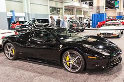 CHARLOTTE, NC, USA - November 11, 2015: Ferrari 458 on display during the 2015 Charlotte International Auto Show at the Charlotte Convention Center in downtown Charlotte.