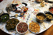 Table covered with the delicacies cooked at a Freegan dinner, made entirely with food recovered from dumping sites around the island of Manhattan, New York, NY., on Friday, June 23, 2006. Freegans are a community of people who aims at recovering wasted food, books, clothing, office supplies and other items from the refuse of retail stores, frequently discarded in brand new condition. They recover goods not for profit, but to serve their own immediate needs and to share freely with others. According to a study by a USDA-commissioned study by Dr. Timothy Jones at the University of Arizona, half of all food in the United States is wasted at a cost of $100 billion dollars every year. Yet 4.4 million people in the United States alone are classified by the USDA as hungry. Global estimates place the annual rate of starvation deaths at well over 8 million. The massive waste generated in the process fills landfills and consumes land as new landfills are built. This waste stream also pollutes the environment, damages public health as landfills chemicals leak into the ground, and incinerators spew heavy metals back into the atmosphere. Freegans practice strategies for everyday living based on sharing resources, minimizing the detrimental impact of our consumption, and reducing and recovering waste and independence from the profit-driven economy. They are dismayed by the social and ecological costs of an economic model where only profit is valued, at the expense of the environment. In a society that worships competition and self-interest, Freegans advocate living ethical, free, and happy lives centred around community and the notion that a healthy society must function on interdependence. Freegans also believe that people have a right and responsibility to take back control of their time.