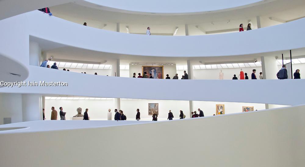 Interior of Guggenheim Museum in Manhattan New York City USA