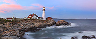 The Portland Head Light in the twilight shortly after Sunset, Portland Maine, USA
