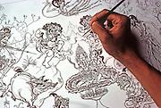 INDONESIA, BALI, ART Art Center, ink drawing of Hindu myth