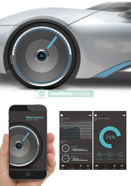August 4, 2017 - inconnu - Future electric cars could become more reliable – by harvesting power generated by the wheels.The device would help to give electric cars greater range, a problem which makes many people reluctant to take up the technology.Wheel Battery is an award-winning design that provides rapid charging in emergencies.An auxiliary battery gets charged through the electricity generated by the car's running wheels.The demand for electric cars has been quickly increasing in recent times.But due to insufficient charging points, electric car drivers face difficulties finding places to recharge their batteries. This creates a certain amount of reluctance in people to switch over to electric cars. On average, an hour's charge on 220V allows an electric car to drive over 10 kilometres. To recharge a car completely, an electric car user would need at least 10 hours of charging time. As an alternative solution, Wheel Battery , created by students at South Korea's Hoseo University, has designed an auxiliary battery that can be installed in the wheels.This auxiliary battery functions as an alternative to the car battery when a driver needs to charge the car but no charging points are available. Wheel Battery has been designed so that the user can easily plug in For convenience, the battery status and amount if charge available is also indicated on the exterior of the auxiliary battery.An app would also be able to tell the driver information about the electricity generated.The idea has won a Red Dot design award in Germany. # UNE BATTERIE DE SECOURS POUR VOITURES ELECTRIQUES (Credit Image: © Visual via ZUMA Press)