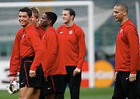 Photo: AF Wrofoto/Sportsbeat Images.<br />Manchester United training session. UEFA Champions League. 03/04/2007.<br />Cristiano Ronaldo, Louis Saha and Rio Ferdinand share a joke in training.