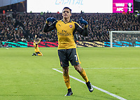 Football - 2016 / 2017 Premier League - West Ham United vs. Arsenal <br /> <br /> Alexis Sanchez of Arsenal celebrates in front of the jubilant Arsenal fans at The London Stadium.<br /> <br /> COLORSPORT/DANIEL BEARHAM