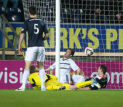 Raith Rovers Lewis Vaughan scoring their goal.<br /> Falkirk 3 v 1 Raith Rovers, Scottish Championship game at The Falkirk Stadium.