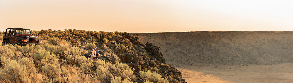 Panoramic of family viewing the Dietrich Crater while jeeping in Dietrich, Idaho.