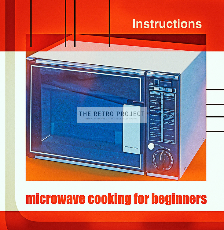 Microwave Cooking For Beginners - Kitchen Oven retro vintage advert manual lifestyle grainy aged kitchen photo illustration