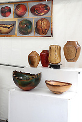 11 July 2015:  Wood turnings displayed by Crave Woodworks at the 2015 Sugar Creek Arts Festival in Uptown Normal Illinois