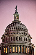 The U.S.Capitol Dome at dusk. The light is lit at the top of the dome signaling that congress is in session<br /><br />Photograph ny Dennis Brack. bb78