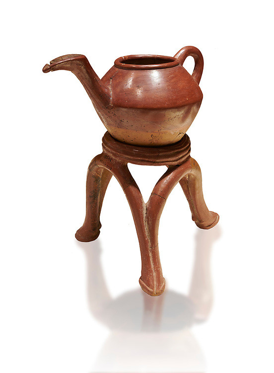 Terra cotta Hittite beaker shaped side spouted teapot and three legged stand - 1700 BC to 1500BC - Kültepe Kanesh - Museum of Anatolian Civilisations, Ankara, Turkey. Against a white background .<br /> <br /> If you prefer to buy from our ALAMY STOCK LIBRARY page at https://www.alamy.com/portfolio/paul-williams-funkystock/hittite-art-antiquities.html  - Type Kultepe into the LOWER SEARCH WITHIN GALLERY box. Refine search by adding background colour, place, museum etc<br /> <br /> Visit our HITTITE PHOTO COLLECTIONS for more photos to download or buy as wall art prints https://funkystock.photoshelter.com/gallery-collection/The-Hittites-Art-Artefacts-Antiquities-Historic-Sites-Pictures-Images-of/C0000NUBSMhSc3Oo