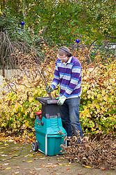 Using a shredding machine to shred prunings