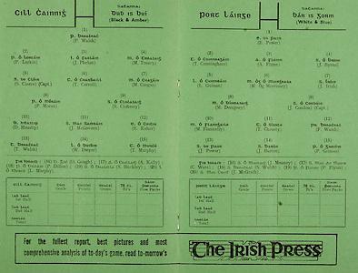 All Ireland Senior Hurling Championship Final,.01.09.1963, 09.01.1963, 1st September 1963,.Minor Wexford v Limerick, .Senior Kilkenny v Waterford, Kilkenny 4-17 Waterford 6-08,..The Irish Press, ..Kilkenny,.P Walsh, P Larkin, J Phelan, M Treacy, S Cleere (Capt), T Carroll, M Coogan, P Moran, S Clohessy, D Heaslip, J McGovern, E Keher, T Walsh, 14 W Dwyer, T Murphy, O Gough, A Kelly, P Dillon, S Buckley, L Murphy, ..Waterford,.E Power, T Cunningham, A Flynn, J Byrne, L Guinan, M O Morrissey, J Irish, M Dempsey, J Condon (Capt), M Flannelly, T Cheasty, F Walsh, J Power, J Barron, P Grimes, J Meaney, C Ware, S Walsh, P Flynn, J McGrath,