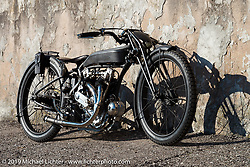 Abnormal Cycles' custom bike builder Samuele Reali's 1919Swiss MAG Motosacoche with its automatic adjustable Brough Superioroiler,Sturmey and Archer transmission and aCorbin Duplex rear wheel hub from a 1916 Indian.Photographed at Motor Bike Expo, Verona, Italy. Sunday, January 21, 2018. Photography ©2018 Michael Lichter.