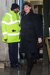 London, UK. 4th February, 2019. Nicky Morgan, Conservative MP for Loughborough, leaves the Cabinet Office with other members of the 'Alternative Arrangements Working Group', a group of Conservative Remainer and Leaver MPs which supported the 'Malthouse Compromise', following a meeting with Brexit Secretary Stephen Barclay.