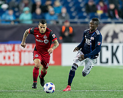 May 12, 2018 - Foxborough, Massachusetts, USA - Foxborough, Massachusetts - May 12, 2018: In a Major League Soccer (MLS) match, New England Revolution (blue/white) defeated Toronto FC (red), 3-2, at Gillette Stadium. (Credit Image: © Andrew Katsampes/ISIPhotos via ZUMA Wire)