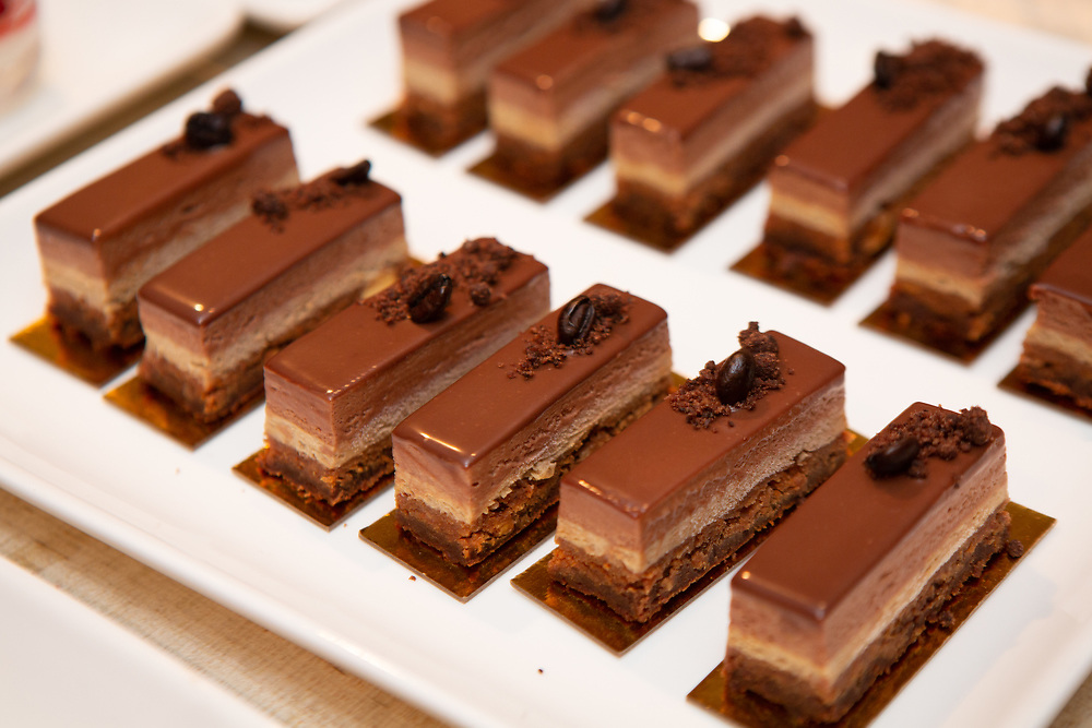 Chocolate + Coffee, a dessert by chefs Belinda Leong and Michel Suas at the kick-off event for the James Beard Foundation's Taste America®'s 10-city national event, held August 1, 2018 at the James Beard House in New York City. <br /> <br /> CREDIT: Clay Williams for The James Beard Foundation.<br /> <br /> © Clay Williams / http://claywilliamsphoto.com