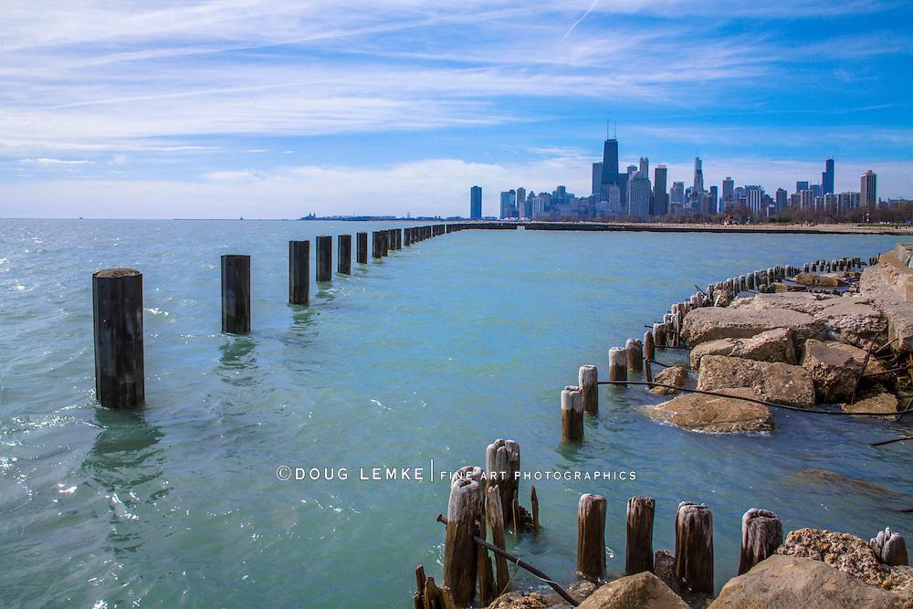 Lake Michigan On A Beautiful Day In Chicago Illinois, USA