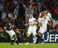 Photo: Chris Ratcliffe.<br /> Middlesbrough v Sevilla. UEFA Cup Final. 10/05/2006.<br /> Sevilla's Freddie Kanoute celebrates scoring their fourth goal.