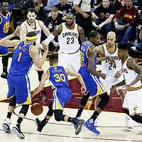 09 June 2017: Golden State Warriors guard Stephen Curry (30) bums in Golden State Warriors center JaVale McGee (1) during the Cleveland Cavaliers 137-11 victory over the Golden State Warriors, in game 4 of the 2017 NBA Finals, at  the Quicken Loans Arena, Cleveland, Ohio, USA.