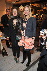 Left to right, JEANNE MARINE and LADY HELEN TAYLOR at a party to celebrate the arrival of the 'A Princess to be a Queen' collection at the Roger Vivier boutique on Sloane Street, London on 20th October 2009.