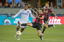 September 19, 2018 - San Jose, California, United States - San Jose, CA - Wednesday September 19, 2018: Danny Hoesen, Michael Parkhurst during a Major League Soccer (MLS) match between the San Jose Earthquakes and Atlanta United FC at Avaya Stadium. (Credit Image: © Lyndsay Radnedge/ISIPhotos via ZUMA Wire)
