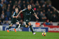 Gabriel Jesus of Manchester City in action. Premier league match, Stoke City v Manchester City at the Bet365 Stadium in Stoke on Trent, Staffs on Monday12th March 2018.<br /> pic by Andrew Orchard, Andrew Orchard sports photography.