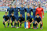 FOOTBALL - INTERNATIONAL FRIENDLY GAMES 2011/2012 - FRANCE v ICELAND - 27/05/2012 - PHOTO JEAN MARIE HERVIO / REGAMEDIA / DPPI - TEAM FRANCE ( BACK ROW LEFT TO RIGHT: YOANN GOURCUFF / JEREMY MENEZ / ADIL RAMI / KARIM BENZEMA / HATEM BEN ARFA / STEVE MANDANDA. FRONT ROW: YOHAN CABAYE / MATHIEU DEBUCHY / PATRICE EVRA / PHILIPPE MEXES / SAMIR NASRI )