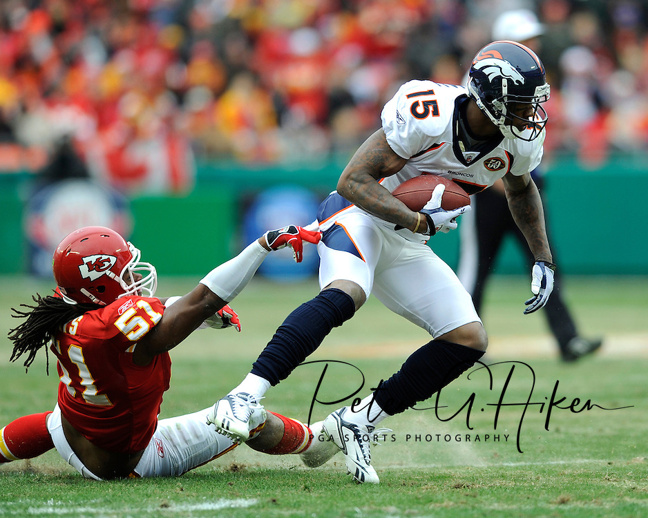 December 6, 2009:  Wide receiver Brandon Marshall #15 of the Denver Broncos brakes away from linebacker Corey Mays #51 of the Kansas City Chiefs in the first half at Arrowhead Stadium in Kansas City, Missouri.  The Broncos defeated the Chiefs 44-13...
