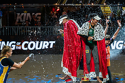 "Emi van Driel, Eduarda Santos Lisboa ""Duda"" BRA, Agatha Bednarczuk BRA, Madelein Meppelink during the ceremony on the last day of the beach volleyball event King of the Court at Jaarbeursplein on September 12, 2020 in Utrecht."