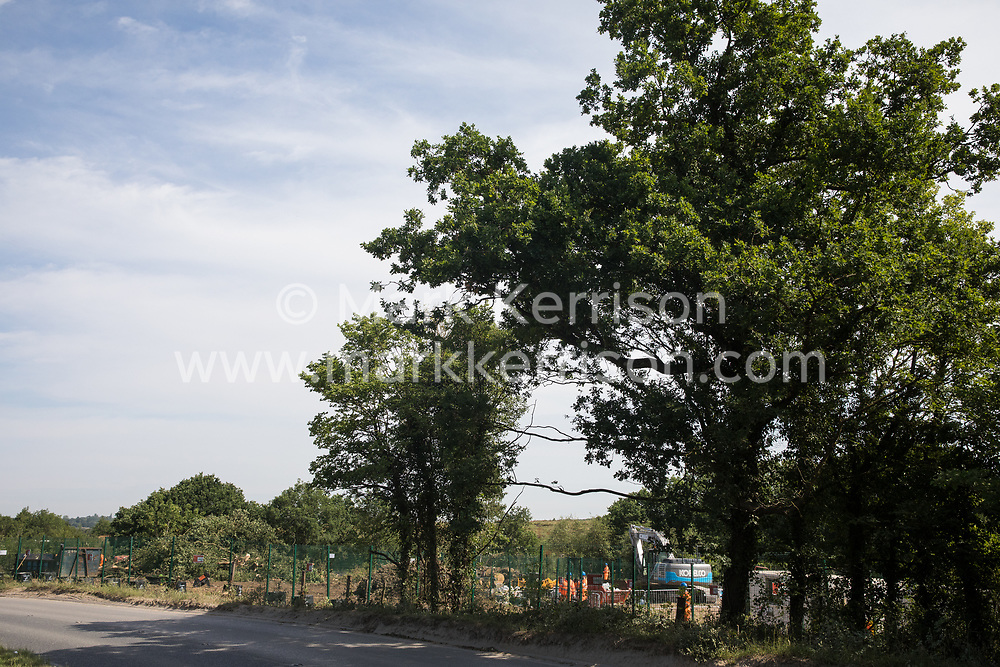 Harefield, UK. 26 June, 2020. An area of woodland on Harvil Road which has just been cleared of trees by HS2 workers. Activists from Save the Colne Valley, Stop HS2 and Extinction Rebellion had protected the site from destruction for the high-speed rail link for several months.