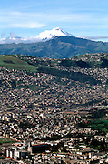 ECUADOR, QUITO, SKYLINE view of city and Cotopaxi Volcano